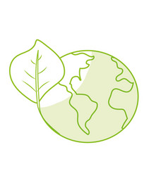 Silhouette global earth planet with leaf symbol to vector
