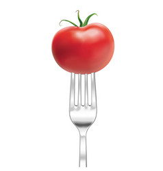Silver fork with tomato 3d vector