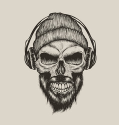 Skull listening a music in headphones vector