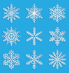 snowflakes set elegant snowflakes vector image