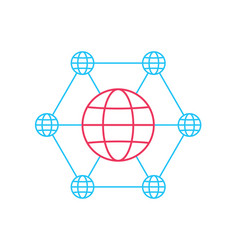 social network flat globe icons on circle vector image