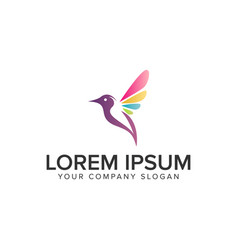 Soft multicolor bird logo design concept template vector