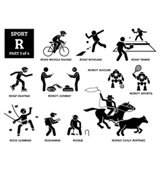 Sport games alphabet r icons pictograph road vector