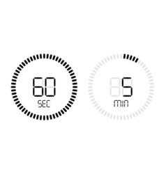 stopwatch second minute countdown digital timer vector image