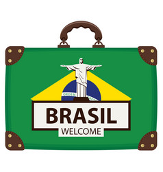 suitcase in colors brazilian flag vector image
