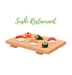 Sushi set on tray for japanese restaurant vector