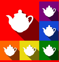 tea maker kitchen sign set of icons with vector image