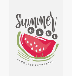 Tee shirt print template with watermelon graphic vector