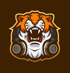 Tiger with headphones vector
