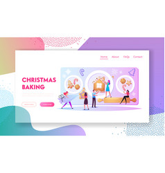 Tiny characters baking huge christmas bakery or vector