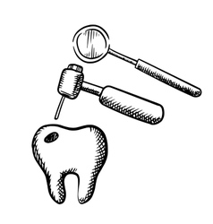 Tooth with decay dental drill and mirror vector