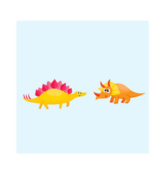 two cute and funny baby dinosaur characters - vector image