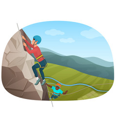 Two multi ethnic climbers climbing on the rock vector
