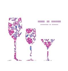 Vibrant field flowers three wine glasses vector