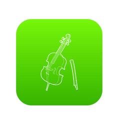 violin icon green vector image
