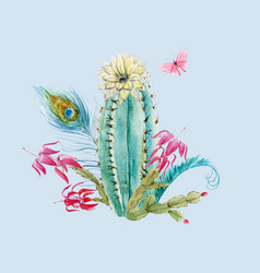 Watercolor cactus composition vector