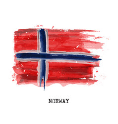 watercolor painting flag of norway vector image