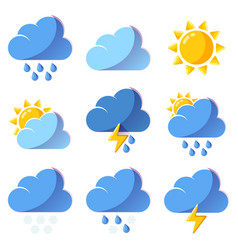 Weather icons forecast colorful icons set vector