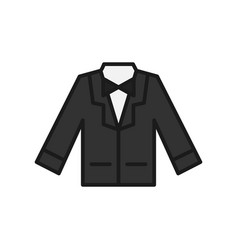 Wedding suit icon groom suit with bowtie for vector