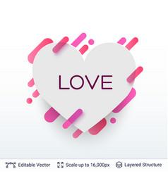 white badge heart shaped sticker vector image