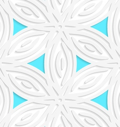 White geometrical flower like shapes with blue vector image