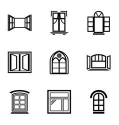 Window frame icons set simple style vector