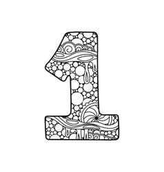 Zentangle number decorative number vector