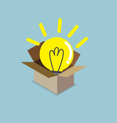 abstract light bulb idea in box vector image vector image
