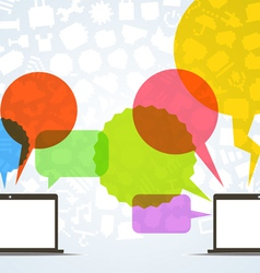 Abstract speech clouds and two connected computers vector image