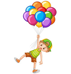 happy boy holding colorful balloons vector image vector image