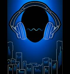 music city in blue mood vector image vector image