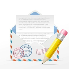 detailed envelope and pencil vector image vector image