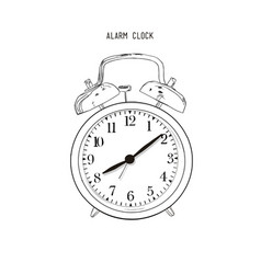 hand drawn sketch alarm clock vector image