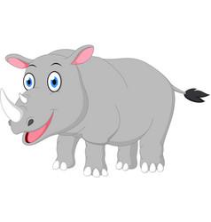 happy rhino cartoon vector image vector image