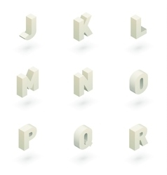 Isometric letters j to r vector image