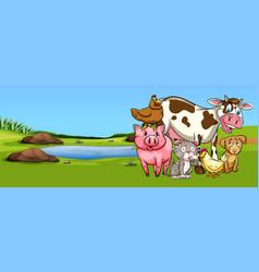Many types of animal on farmyard vector