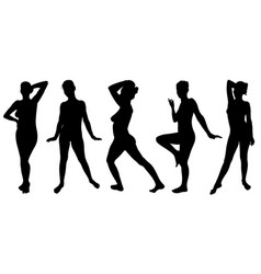 set of women silhouettes posing vector image vector image
