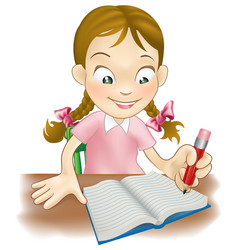 young girl writing in a book vector image vector image
