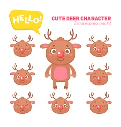 Christmas deer character construction kit vector image