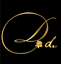 Gold letter D with roses vector image vector image
