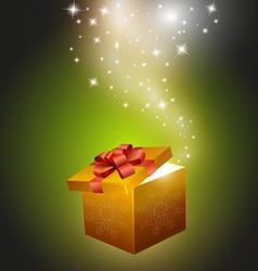 golden gift box vector image vector image