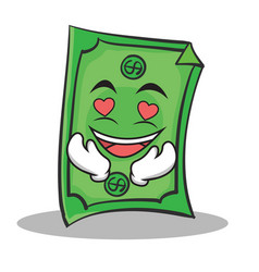 in love dollar character cartoon style vector image vector image