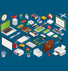 isometric composition of computer technology vector image vector image