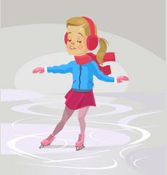little smiling girl character skates vector image
