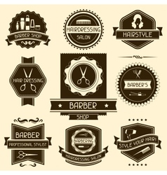 Set of barber shop badges in retro style vector image vector image