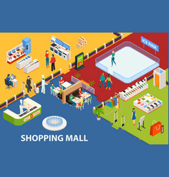 shopping center set object vector image vector image