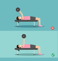 woman wrong and right barbell bent press posture vector image vector image
