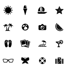 black summer icon set vector image vector image
