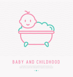 funny baby in bathtub with bubbles vector image