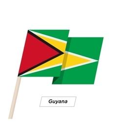 Guyana Ribbon Waving Flag Isolated on White vector image vector image